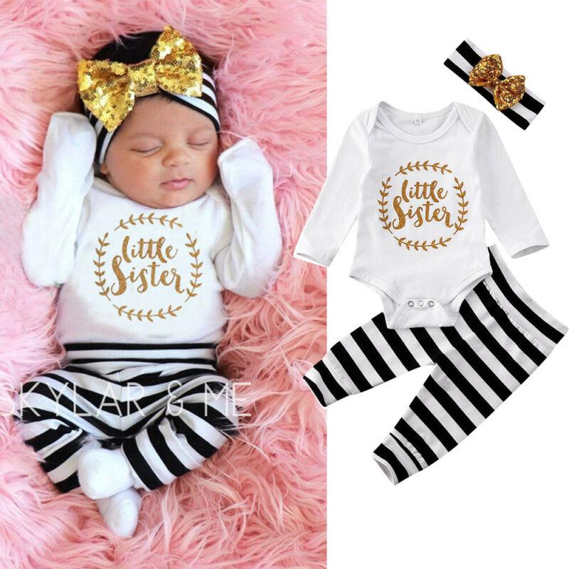 Одежда для новорожденных девочек от 0 до 12 месяцев, комплект из 3 предметов комбинезон для маленьких девочек с надписью «Little Sister», комбинезон штаны в полоску комплект одежды для маленьких девочек