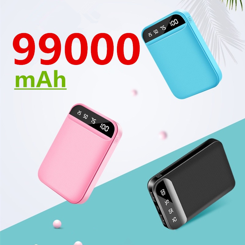 Mini Power Bank 99000mAh Phone Fast Charger USB Charging Portable Charger External Battery Pack for