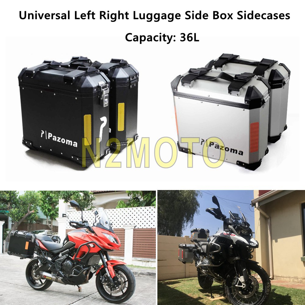 Caja de equipaje para motocicleta 36L, Sidecases, caja de almacenamiento, Bolsa lateral de carga para BMW R1200 GS Adventure F800GS Kawasaki Versys 650 Universal
