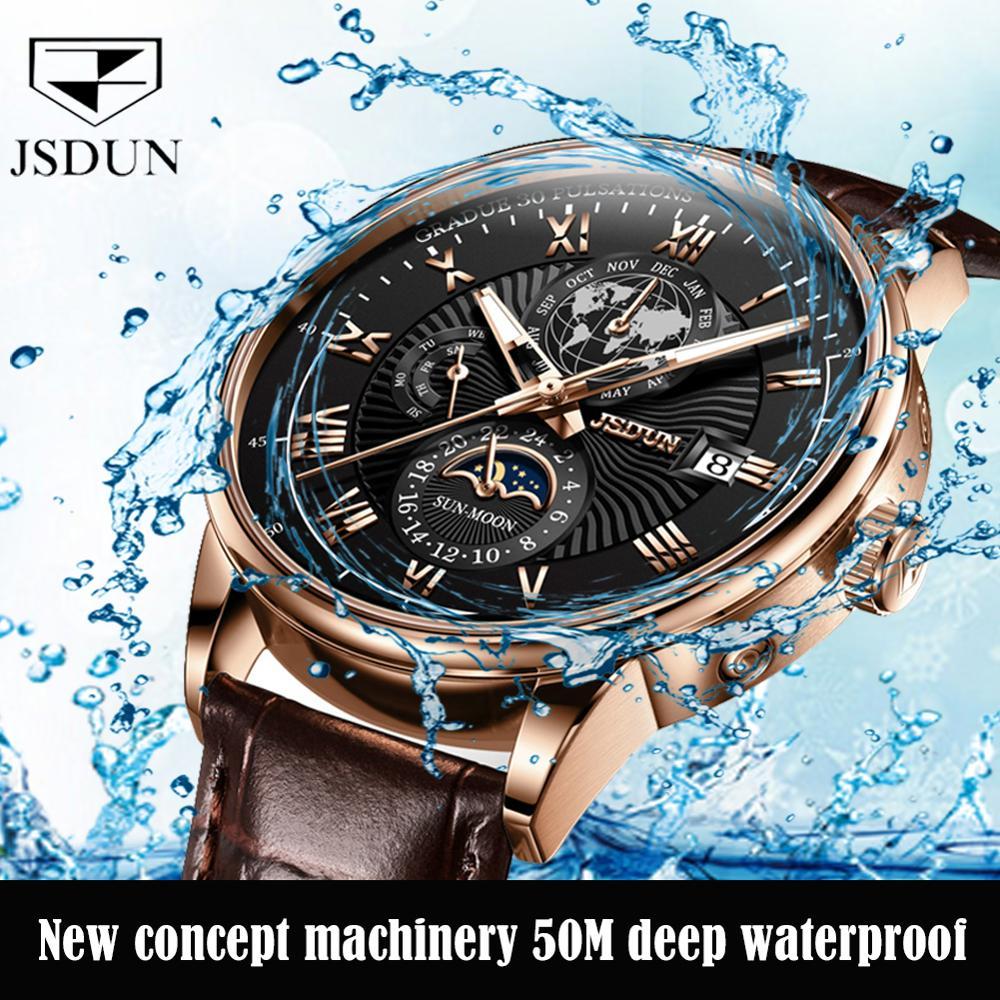 Classic men's mechanical watches luminous wristwatch male bracelet moon phase watch luxury brand JSDUN automatic deep waterproof