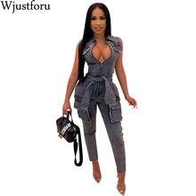 Wjustforu Sexy Bandage Denim Jumpsuit Women Fashion Ripped Club Jeans Jumpsuit Femme Zipper Packet Tight Bodysuit Vestidos