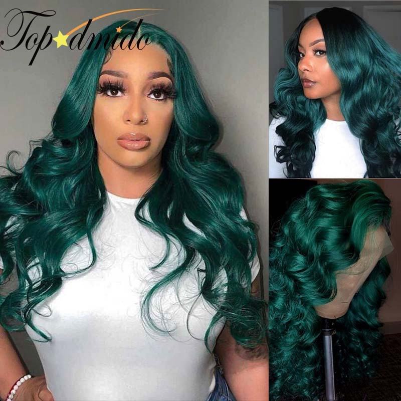 Topodmido Green Color Lace Front Wigs for Women Peruvian Remy Hair 13x4 Lace Front Human Hair Wigs Pre Plucked Body Wave Wigs
