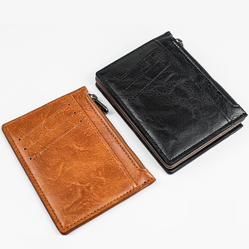 New Arrival Vintage Men Zipper Leather Credit Card Holder Small Wallet Money Bag ID Card Case Mini Purse For Male Business Purse