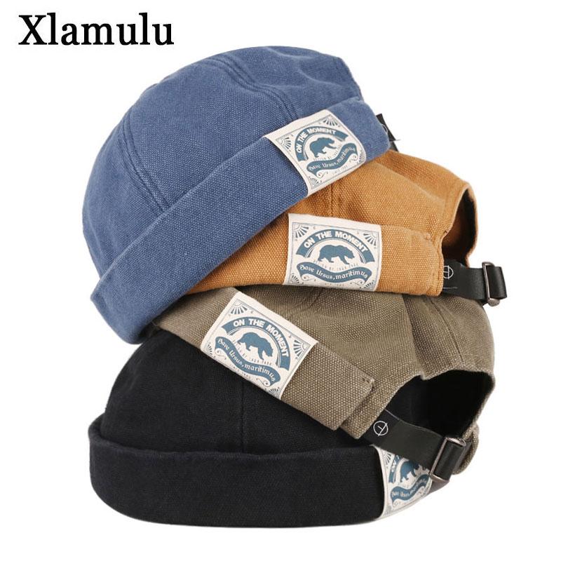 Fashion Men Docker Cap Skullcap Retro Sailor Cap Beanie Hats Men Women Warm Bucket Cap Brimless Hat Skullcap Bonnet Dad Caps