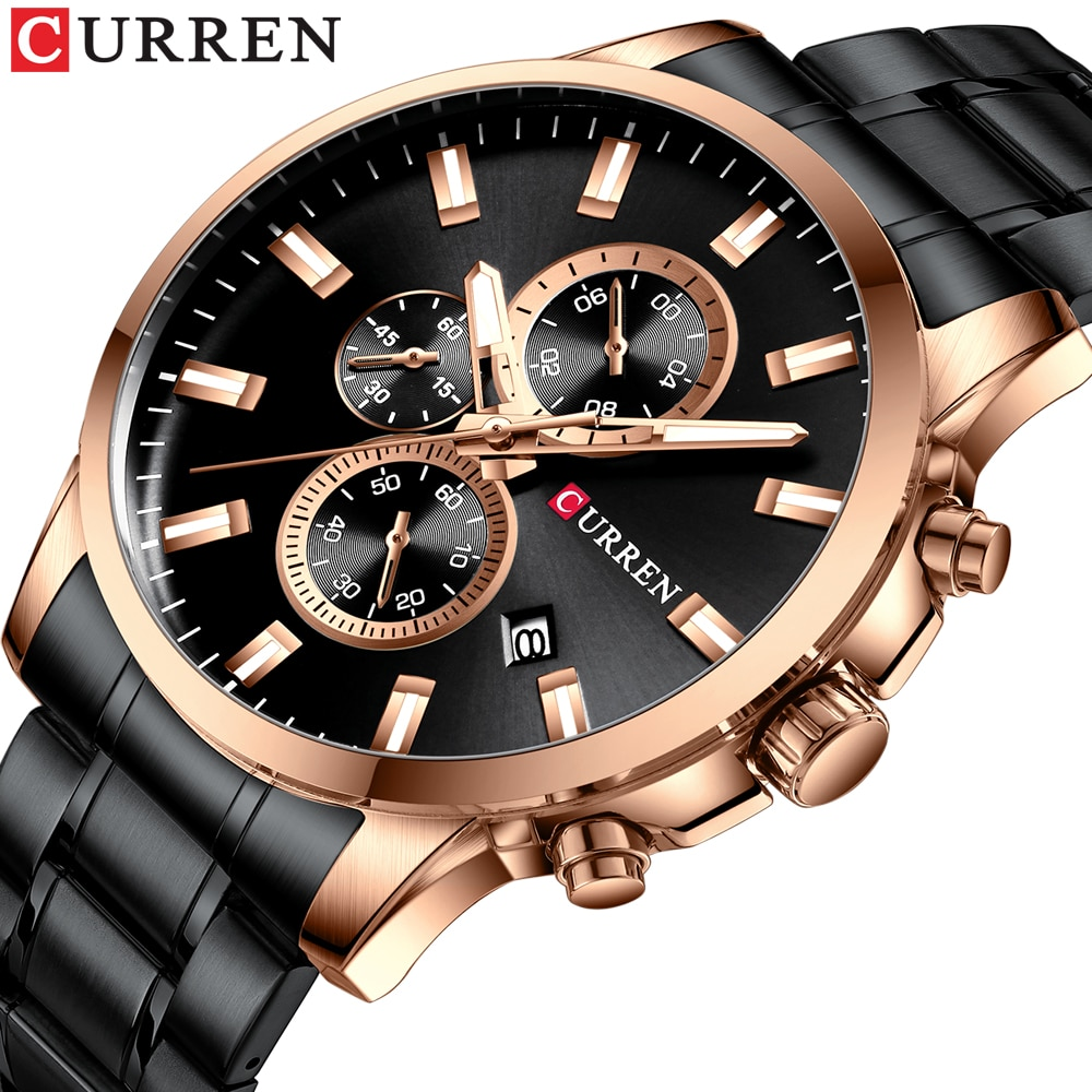 2019 New CURREN Brand Fashion Chronograph Watch Luxury Quartz Watches Mens Stylish Stainless Steel band waterproof Relogio Mascu