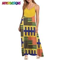 noisydesigns 2021 womens new fashion loose casual ladies african tribal ankara prints v neck sling dress beach sleeveless dress