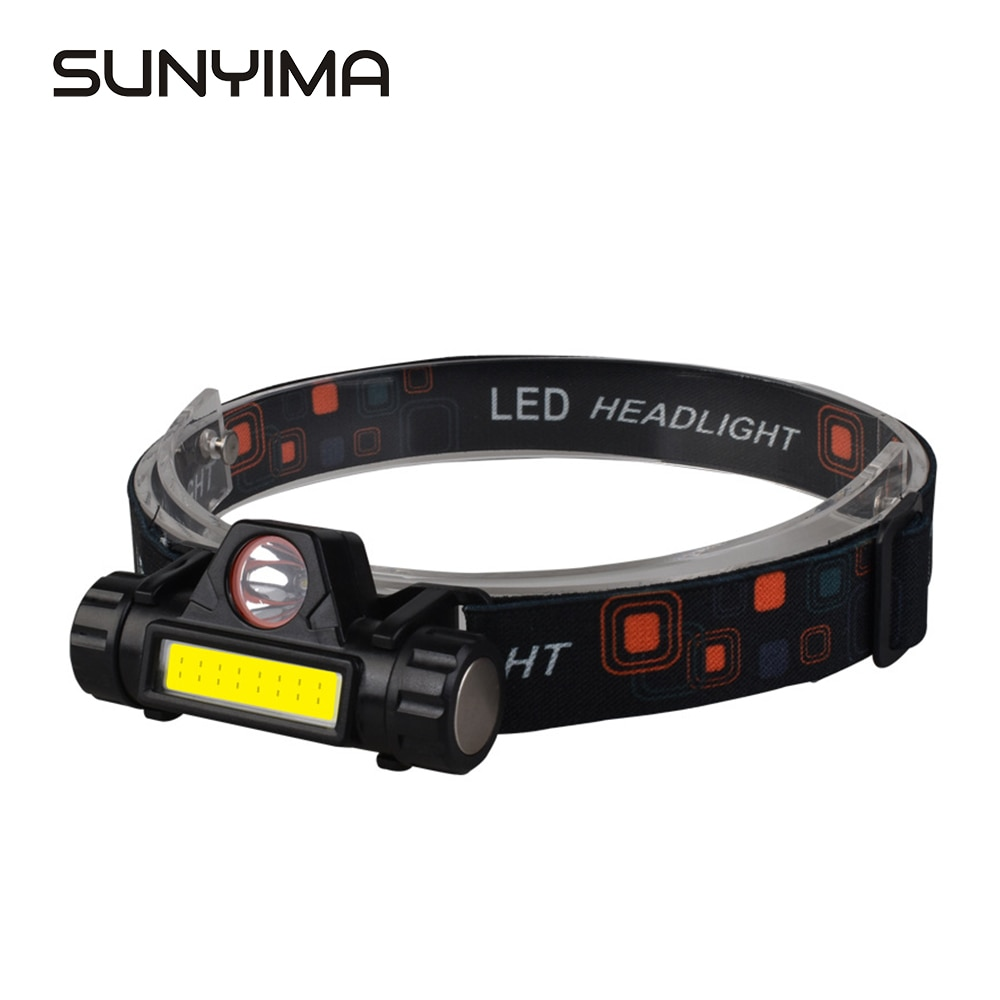 SUNYIMA Portable Outdoor camping headlight Mini flashlight lantern Q5+COB Waterproof led Headlamp Multifunctional
