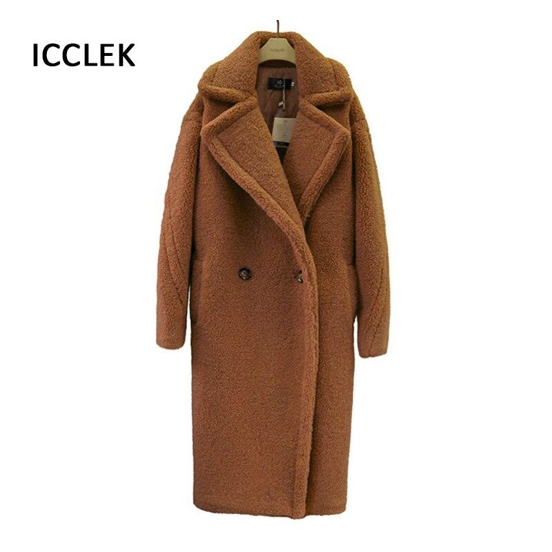 الخريف الشتاء المرأة معطف الفرو منتصف طول فو الفراء الكشمير الصوف معطف السيدات الدافئة معطف من قماش الكشمير
