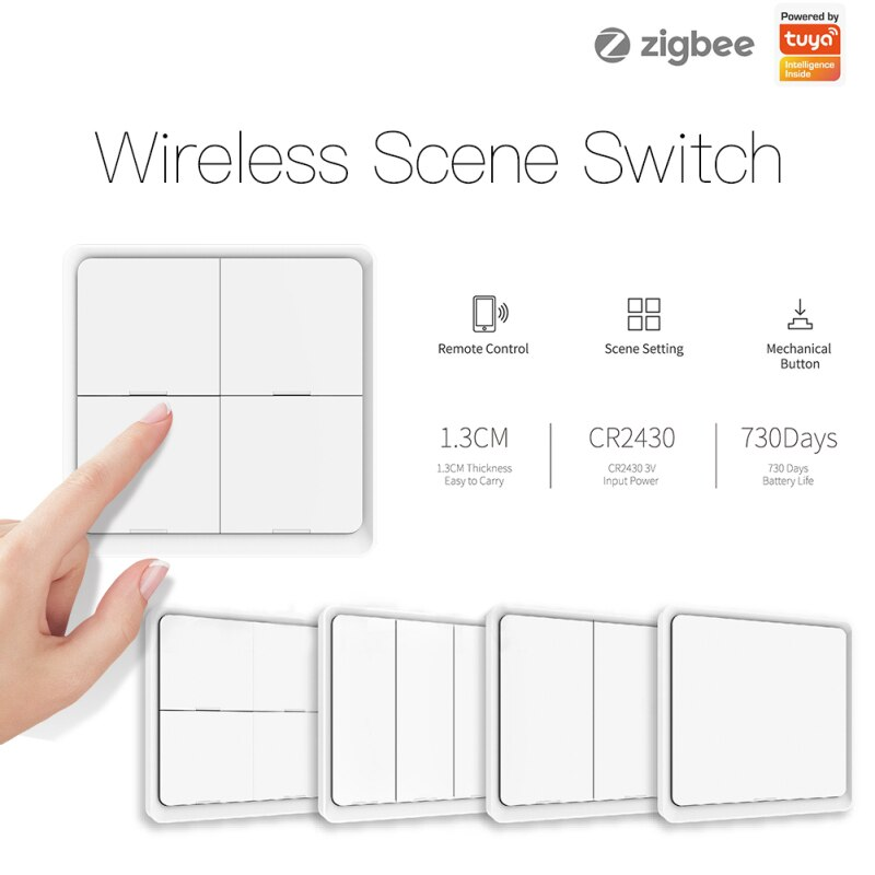 4-way Tuya ZigBee Smart Switch Wireless 12 Scene Free Sticker Panel Scene Button Switch Smart Home Family Intelligence System