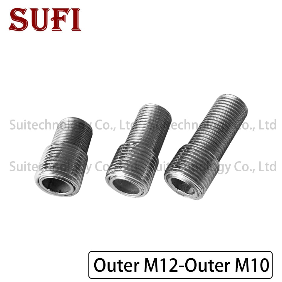 2 sztuk M12 M10 zewnętrznych zębów adapter śruba drobne zęby pusta rura żelaza rura gwintowana pełne zębów zewnętrzna śruby M12 do zewnętrznej m10