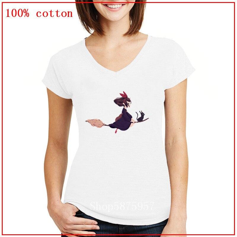 Anime Jiji Kiki servicio de entrega de Kiki. Película Studio Ghibli Camisa estampada mujeres V cuello camisetas de manga corta de verano