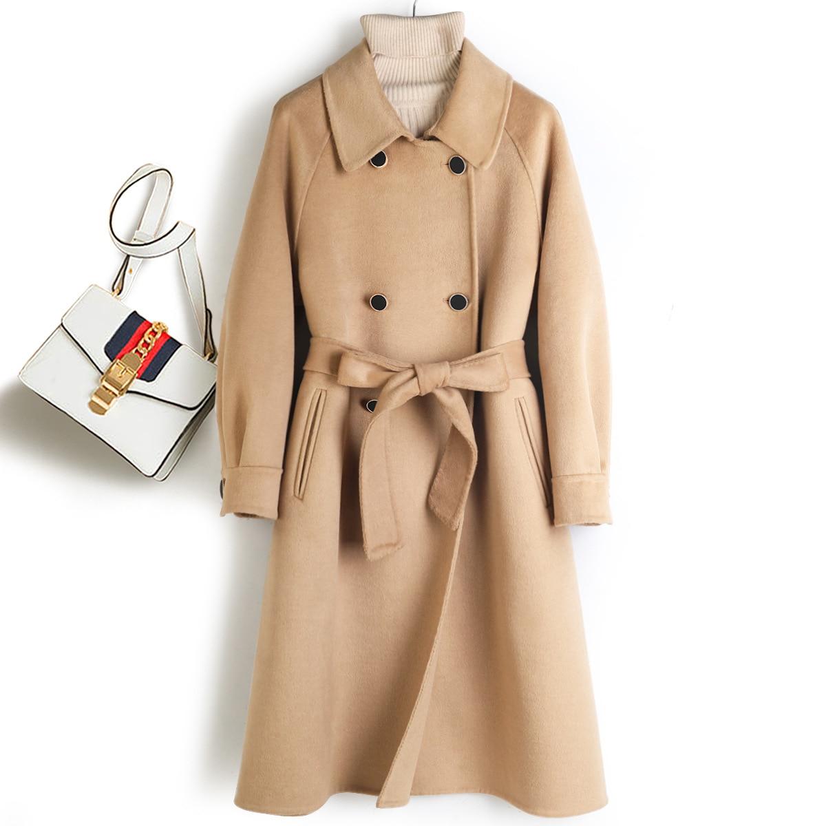 Abrigo de invierno de 90% Lana, cintura ajustable coreana, doble botonadura, bolsillos,...