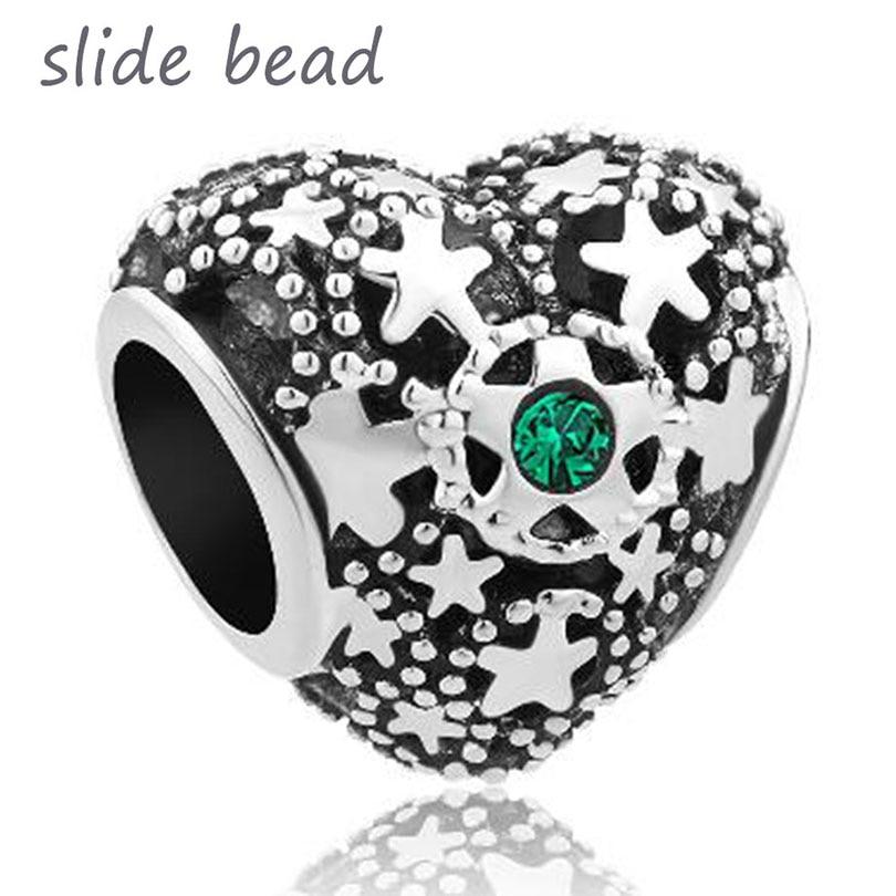 Ajuste pandora charme pulseiras verde birthstone natal neve coração amor talão encantos para pulseiras contas para fazer jóias