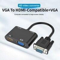 VGA в HDMI-совместимого адаптера VGA сплиттер с 3,5 мм Опора аудио конвертера двойной Дисплей для PC проектор HD мульти-порт VGA