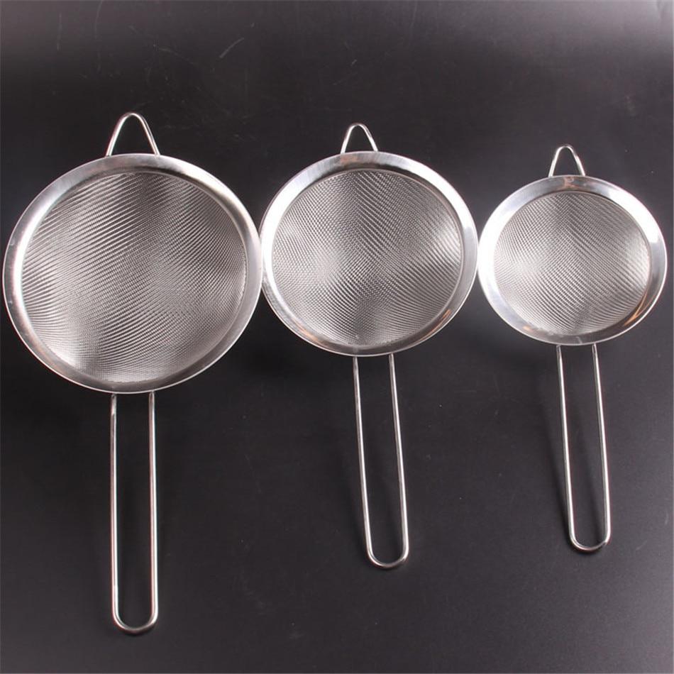 Filtro de harina de acero inoxidable para cocina opcional de 12/14 / 16cm tamiz colador utensilios de cocina y utensilios colador de fregadero