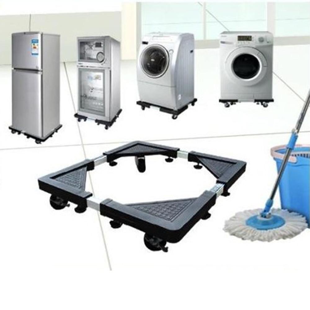 56x56cm Heavy Duty Mount Fridge Adjustable Stand rack With Wheels Bathroom Refrigerator Holder Washing Machine Base