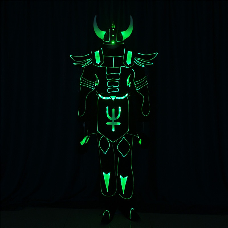 Full color programmable robot men suit led light costume tron dance team luminous outfit RGB colorful cosplay wears clothing dj