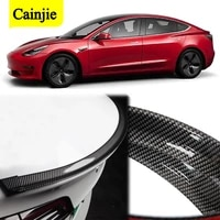 car styling 5d carbon fiber diy rear tail wing spoiler protector body for tesla model 3 y