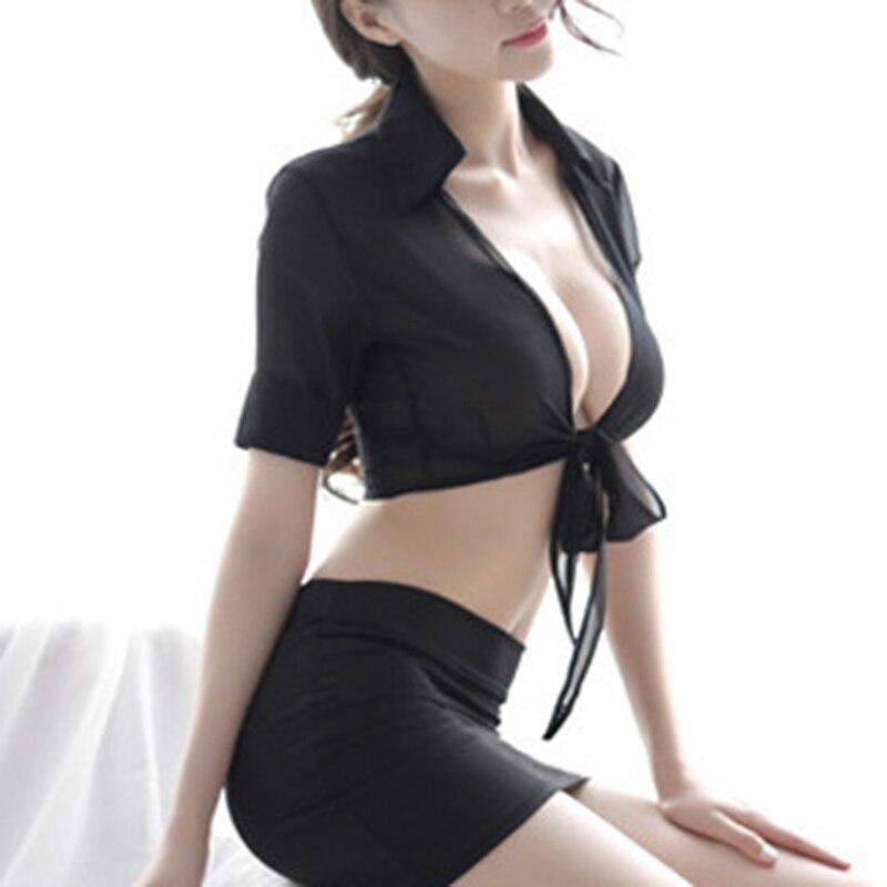 2pcs Sexys Women Lingerie Secretary Outfit Uniform Cosplay Costume Top Skirt Set KS-shipping