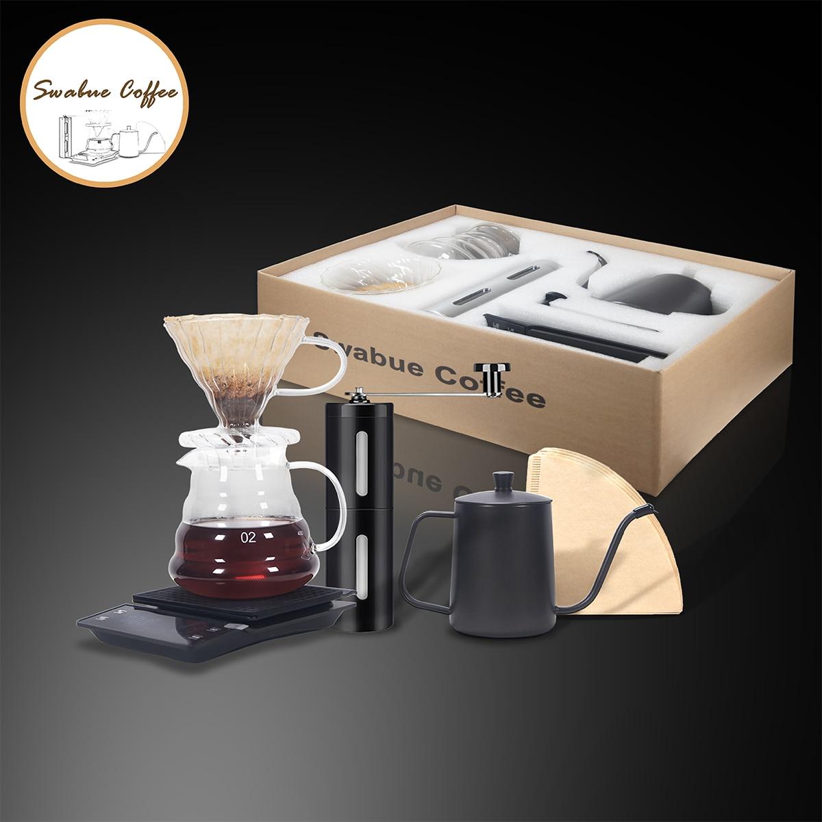 Swabue مجموعة ادوات القهوة V60 مرشح Papesr أواني الزجاج المنقط 500 مللي مقياس الخدمات طاحونة يدوية صانع المقهى 4/5 Sets
