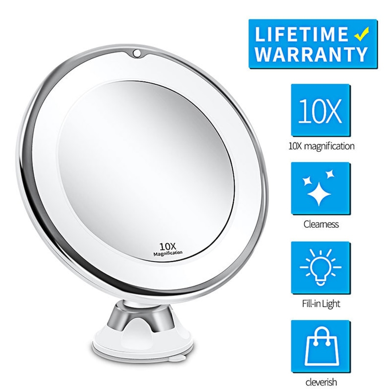LED Mirror Flexible Makeup Mirror with Led Light Vanity Mirrors 10X Magnifying Mirrors Cosmetic Suction Cup Bathroom Mirror