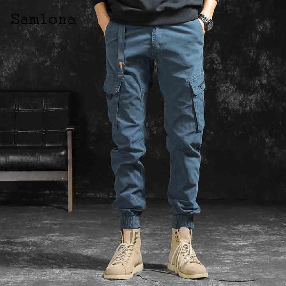 Мужские повседневные брюки-карго, осень 2021, мужские брюки-карго, мужские уличные штаны на молнии, цвет голубой/хаки, Мужская Уличная одежда