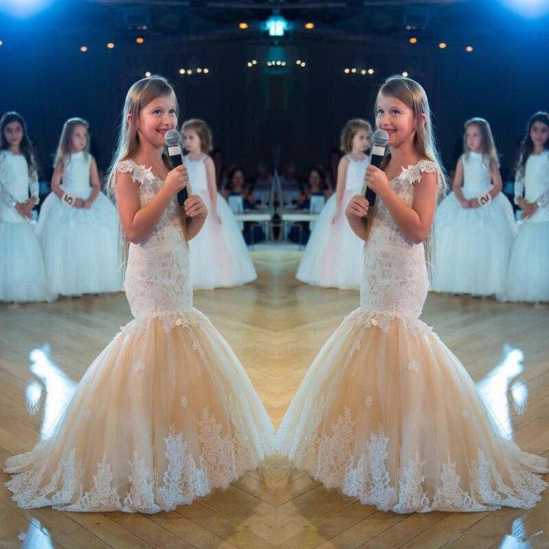 Vestido Formal de sirena con flores para niña, vestido de fiesta de boda, desfile de niños, vestidos de primera comunión
