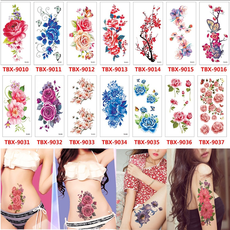 New 36 Sheets 3D Waterproof Temporary Flowers Tattoos For Women Girl Body Art Sleeve DIY Stickers Glitter Tattoo Beauty Exotic
