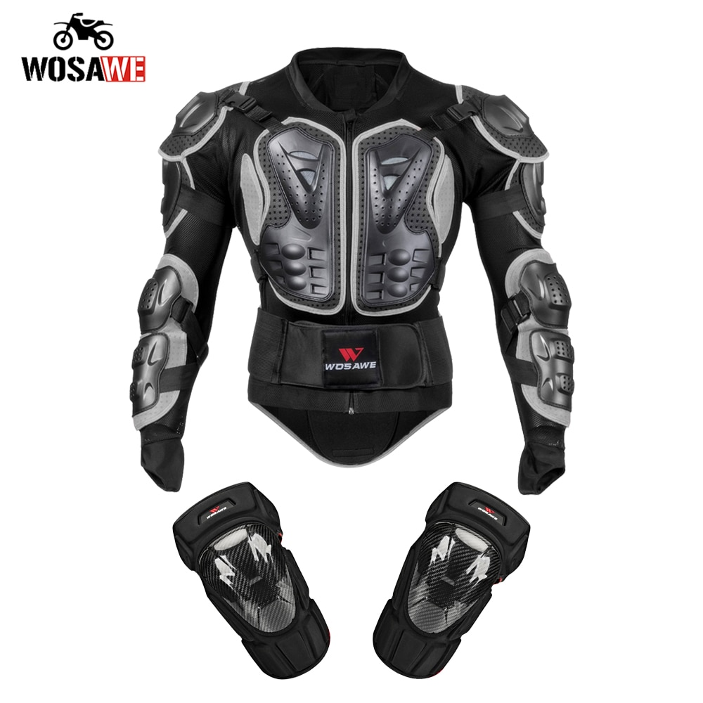 WOSAWE Motorcycle Full Body Protective Armor Jacket Racing Motocross MTB Riding Chest Back Protector Guard moto gear wosawe motorcycle jacket full body armor back chest protector motocross racing clothing riding protective gear moto protection
