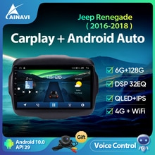 Ainavi Car Radio Android 10 QLED Screen For Jeep Renegade 2016-2018 Auto Stereo Multimedia Video Pla