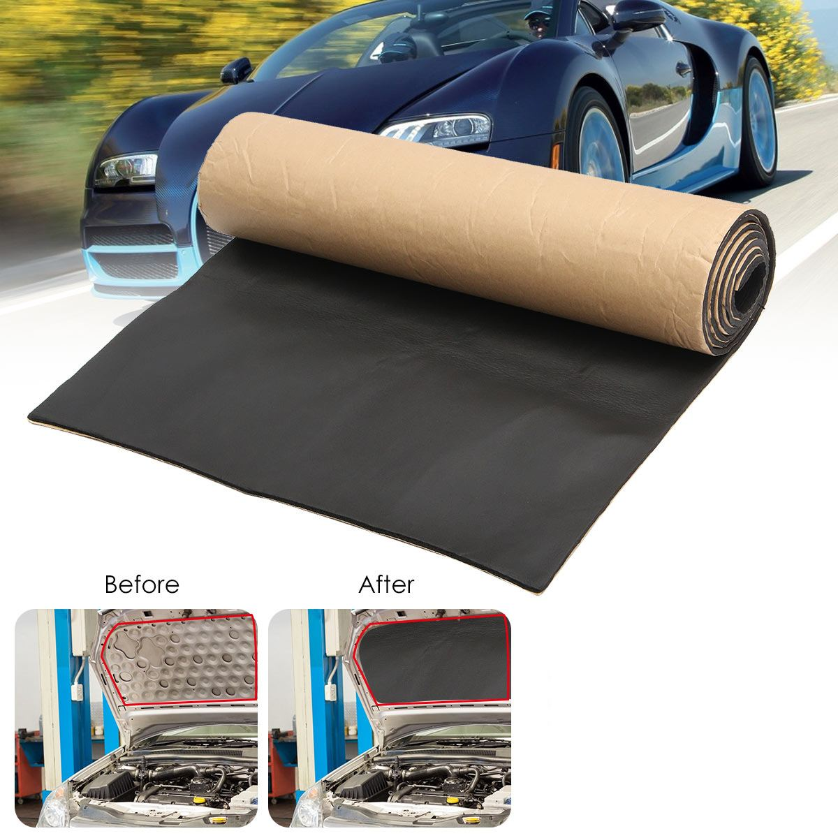 1Roll 200cmx50cm 10mm/6mm/3mm Car Sound Proofing Deadening Car Truck Anti-noise Sound Insulation Cot