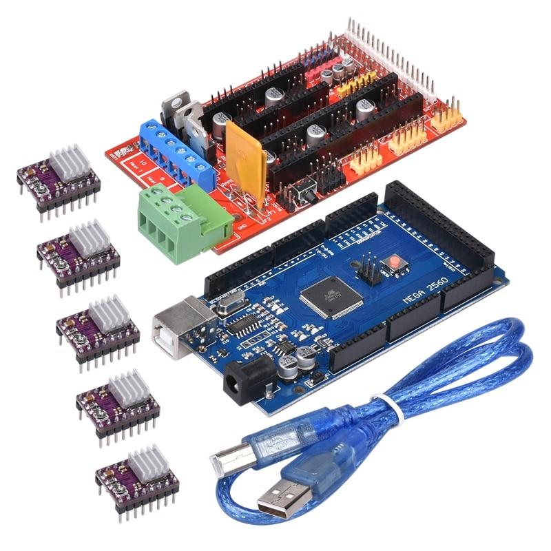 لوحة التحكم للطابعة ثلاثية الأبعاد عدة 2560 R3 لوحة محسنة + سلالم 1.4 لوحة التحكم + Drv8825 سائق مع بالوعة الحرارة