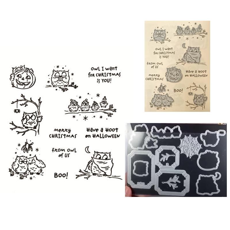 جديد ثلاثية الأبعاد 2020 قطع معدنية يموت و سكرابوكينغ لصنع الورق هالوين البومة النقش إطار بطاقة واضحة Stamps مجموعة