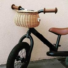 Children's Vintage Rattan Bicycle Baskets 16 Inch Bicycle Balance Car Baskets Bike Scooter Basket Kids Bike Cart Rattan Handbag