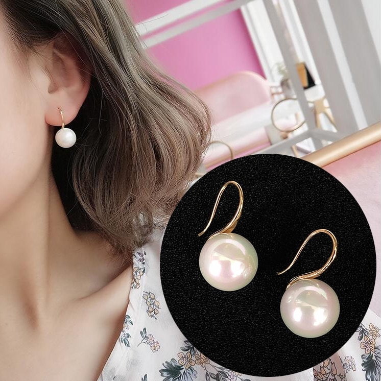 2Pcs/Pair Fashion Pear Drop Earrings for Women Girls Simulation Pearl Stud Vintage Ear Statement Jewelry Accessories