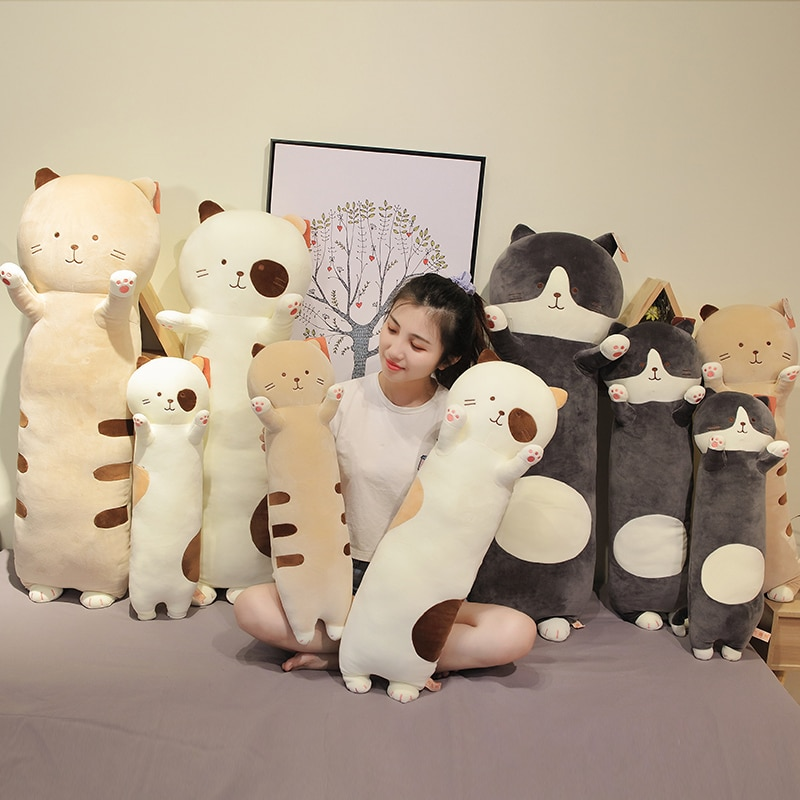 Hot Nice Huggable Sfot Kawaii Cat Plush Toys Super Cute Plush Toy Cartoon Long Pillow Stuffed Doll Birthday Christmas Gift  - buy with discount
