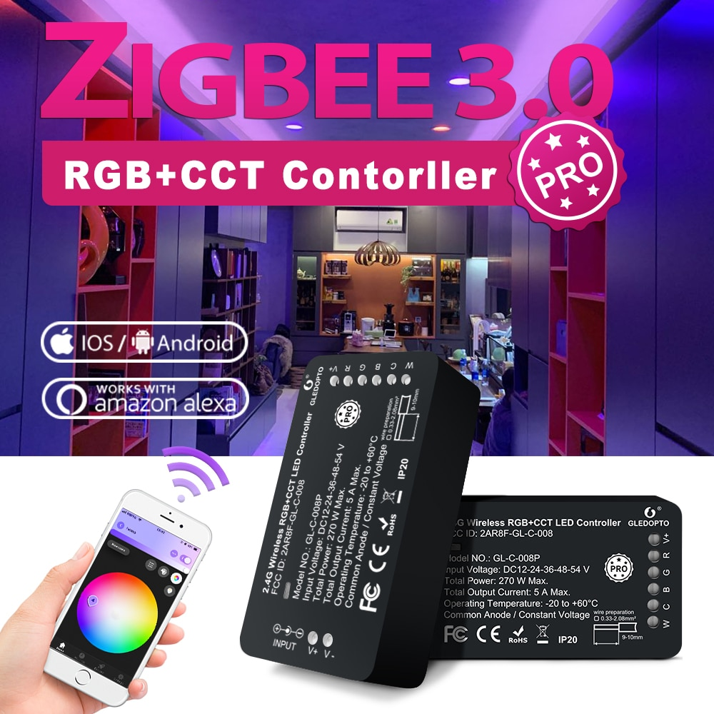 GLEDOPTO Zigbee 3.0 LED Light Strip Controller RGB Warm Cold White Pro Compatible with Hue Tuya App Voice RF Remote Control