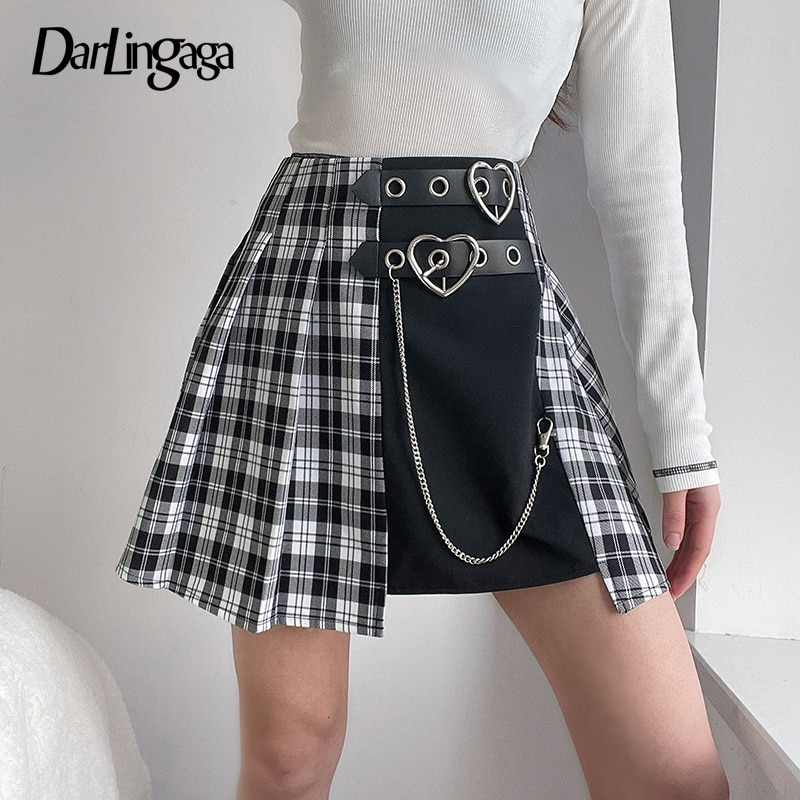 Darlingaga Streetwear Punk High Waist Plaid Skirt Mini Patchwork Chain Pleated Skirt Belt Summer Woman Skirts Gothic Clothes New