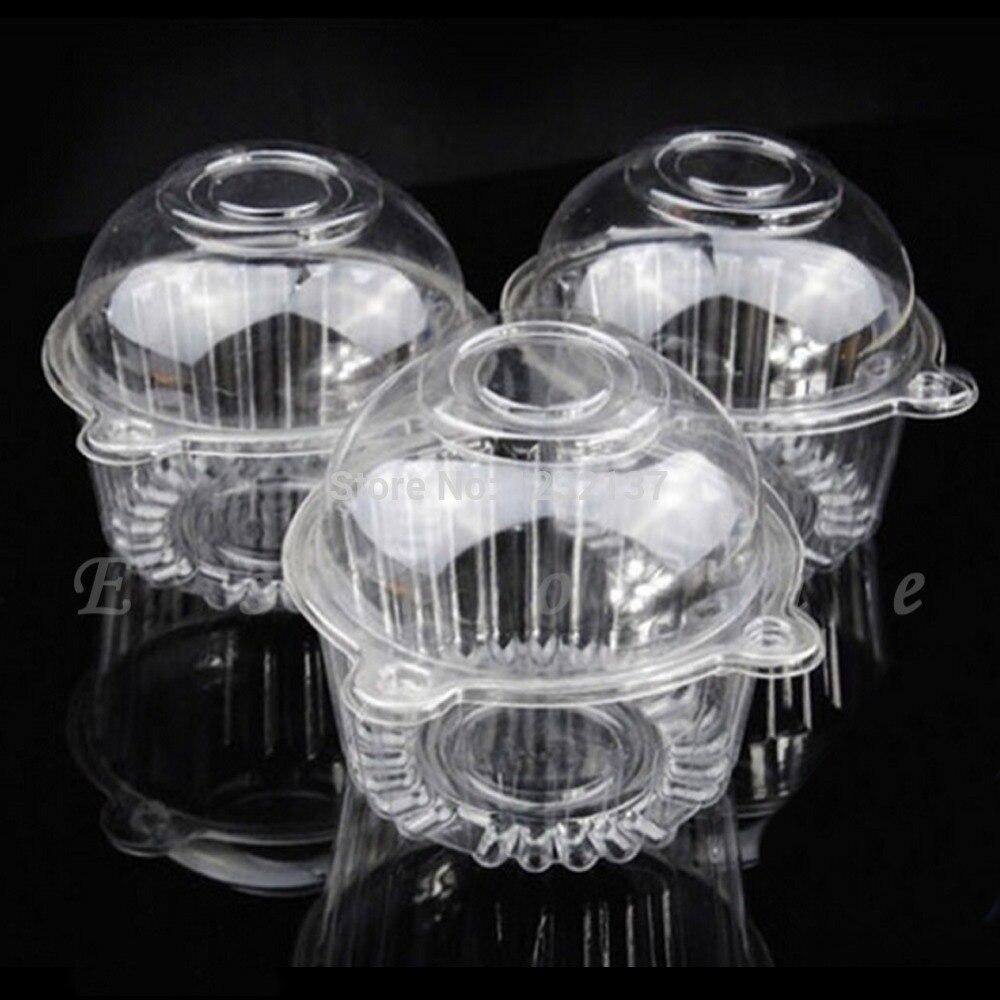 جديد 100 قطعة من البلاستيك الشفاف واحد كب كيك علبة الكعك قبة صندوق حامل الحاويات لملحقات المطبخ