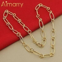 aimarry 925 sterling silver gold charm circle chain necklace for women men anniversary wedding gifts fashion jewelry