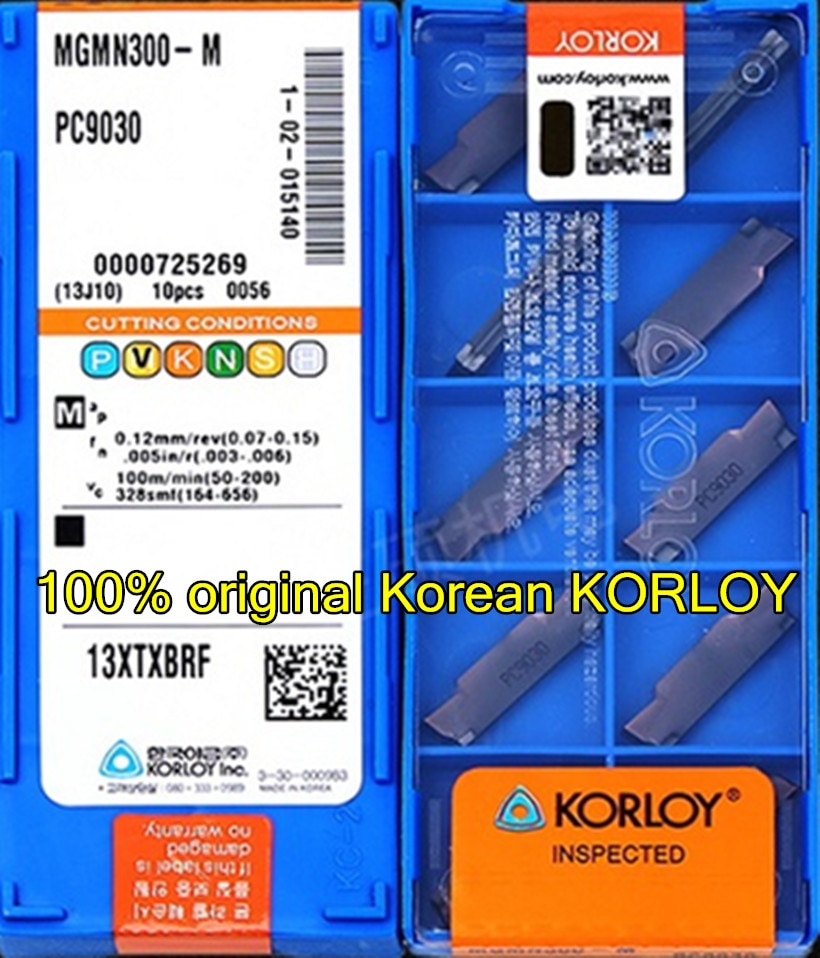 MGMN150 MGMN200 MGMN250 MGMN300 MGMN400 MGMN500 MGMN600 PC9030 100% Coreano original KORLOY inserir Processamento; aço Inoxidável