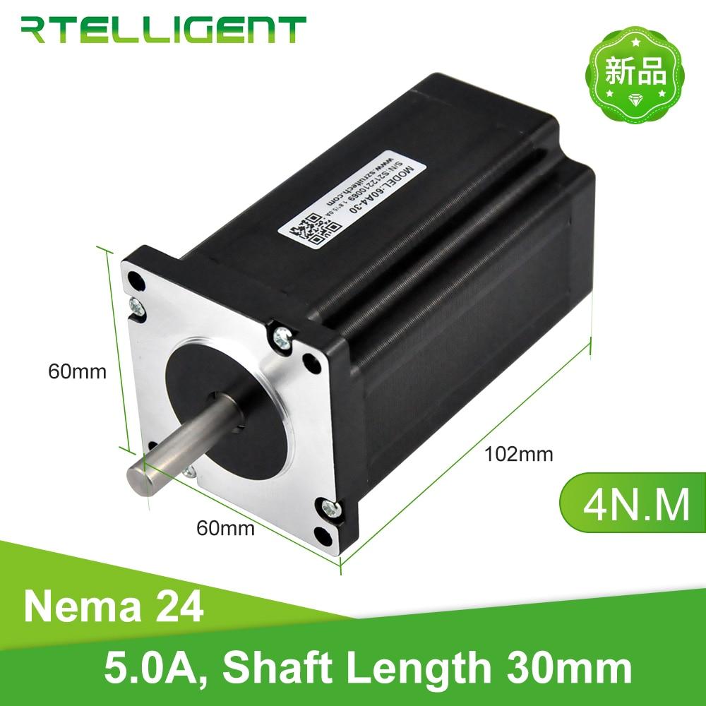 Rtelligent Nema 24-محرك متدرج ، 4 رصاص 5 أ ، طول عمود 30 مللي متر ، قطر عمود 8 مللي متر ، 40 كجم. سم 60 × 120 مللي متر