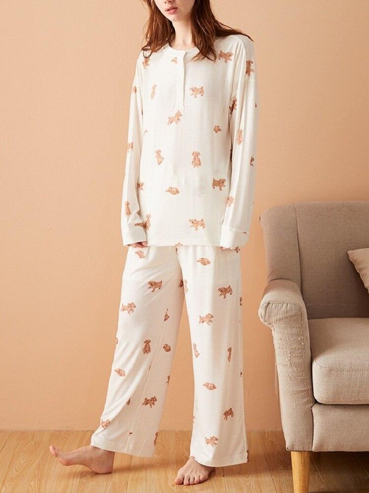بيجامة نسائية قطنية مطبوعة للخريف والشتاء ، بدلة نوم ، بنطلون مريح بأكمام طويلة ، ملابس منزلية ، بدلة فضفاضة للنساء ، مجموعة جديدة