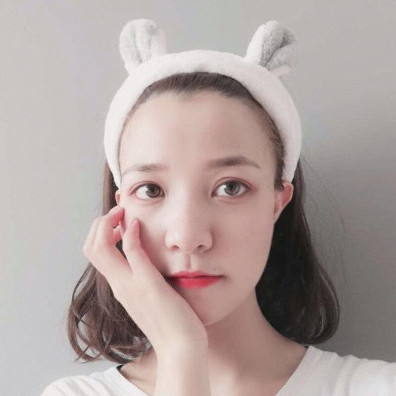 1pcs moda feminina meninas coelho orelhas hairband elástico headdress em forma de coração acessórios para o cabelo de algodão ferramentas de maquiagem