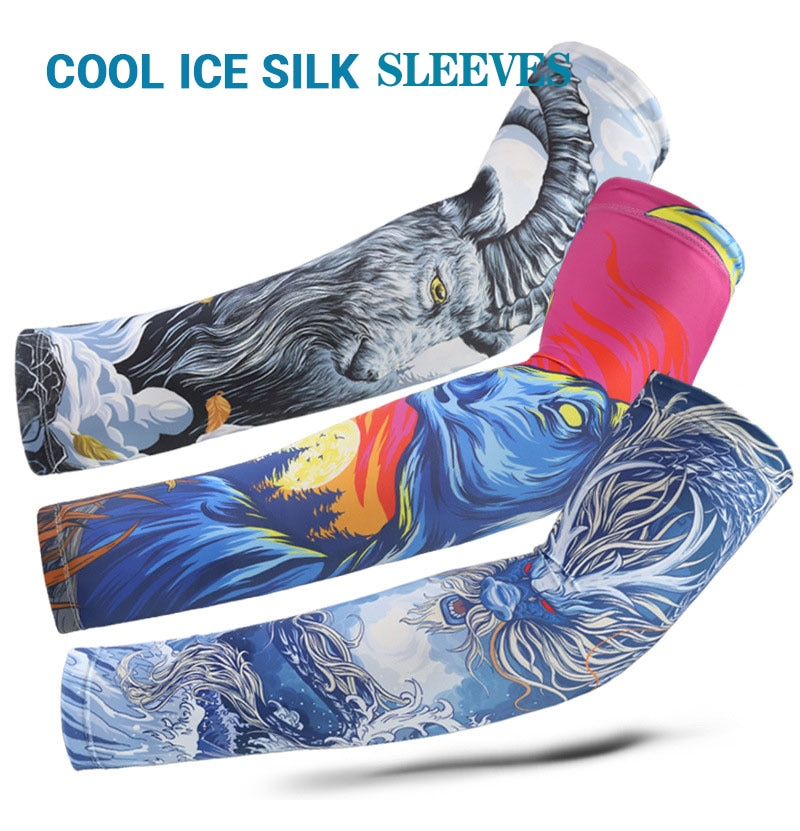 AliExpress - 1 Pair Outdoor Summer Sun Protection Sleeves Set 3D Printed Cycling Ice Silk Sleeves Bicycle Sunshade Sleeve Riding arm Sleeves