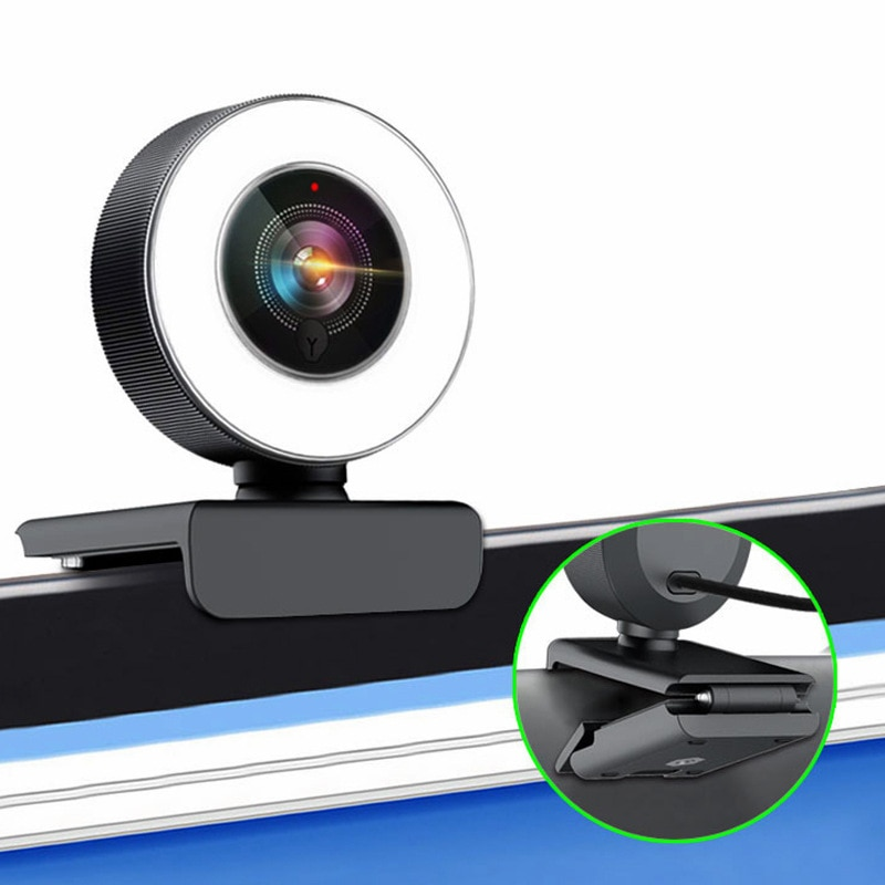 2K/1080P HD Webcam Built in Adjustable Ring Light and Mic Web Camera Camcorders Camera Photo Camcorders
