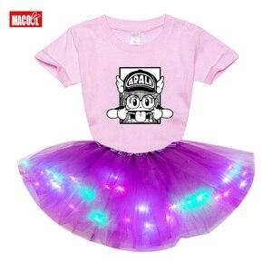 Dress for Kids Girls Clothing Sets LED Skirt Light Glow Tutu Neon Luminous Party Dress Kids Light LED Tutu Dress+t Shirt 2 Pcs