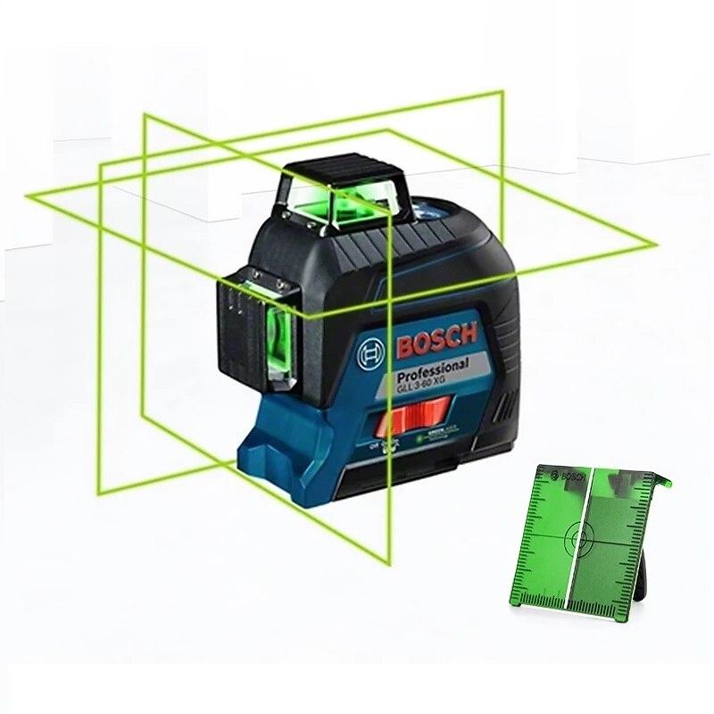 BOSCH GLL3-60XG مستوى الليزر 12 خطوط الأخضر ليزر التسوية خط الإسقاط اختياري ترايبود الغبار في الأماكن المغلقة في الهواء الطلق المتاحة
