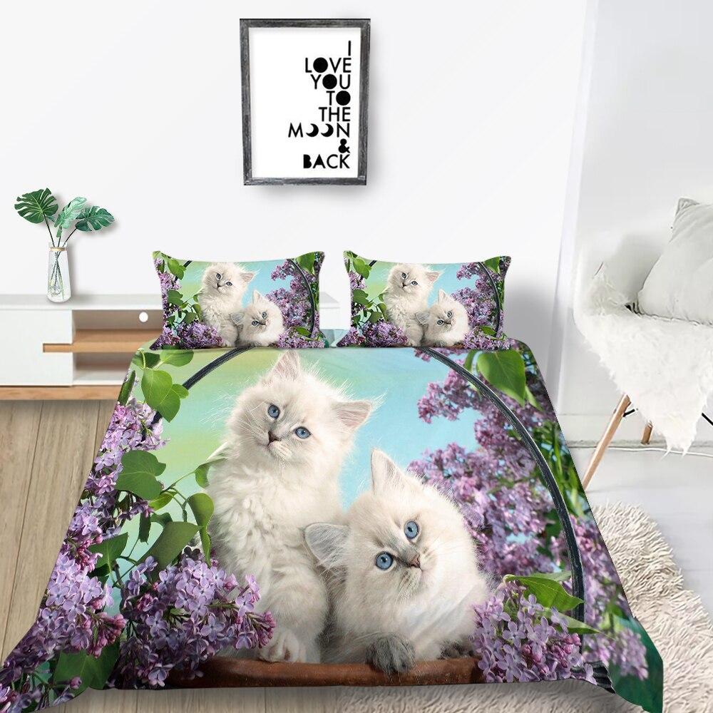 Комплект постельного белья с цветочной корзиной, красивый пододеяльник с одним котенком, персидский кот, королева, Двуспальная, двойная кро...
