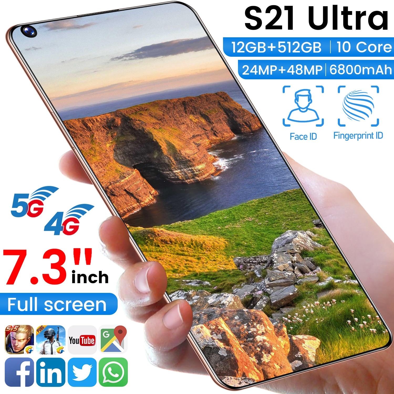 الإصدار العالمي 7.3 بوصة S21Utra الهواتف الذكية شاشة كاملة 8G 256GB 24MP + 48MP مقفلة Android10 المزدوج سيم عشاري النواة الهاتف المحمول